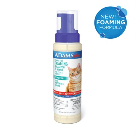 Adams Plus Flea & Tick Foaming Shampoo & Wash for Cats & Kittens with Oatmeal and Coconut, Gentle Deep Conditioning, Sensitive Skin Formula, 10 ounces Dermapet Cat Shampoo