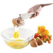Jeobest 1PC Egg Cracker - Egg Yolk Separator - Egg Cookie Opener Handheld Egg York Separator Household Kitchen Gadget Appliance Tools MZ (White)