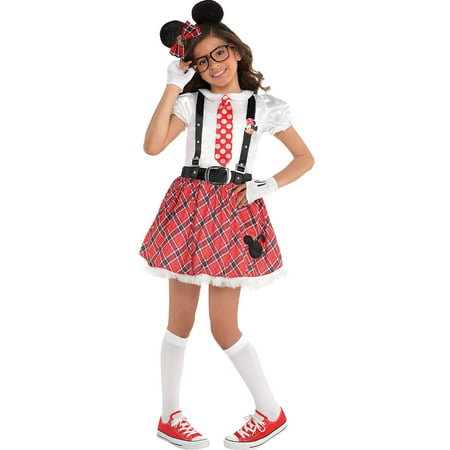 Costumes USA Minnie Mouse Nerd Costume for Girls, Includes a Dress, Glasses, Gloves, a Headband, and More