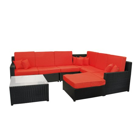 8-Piece Black Resin Wicker Outdoor Furniture Sectional Sofa, Table and Ottoman Set - Red Cushions