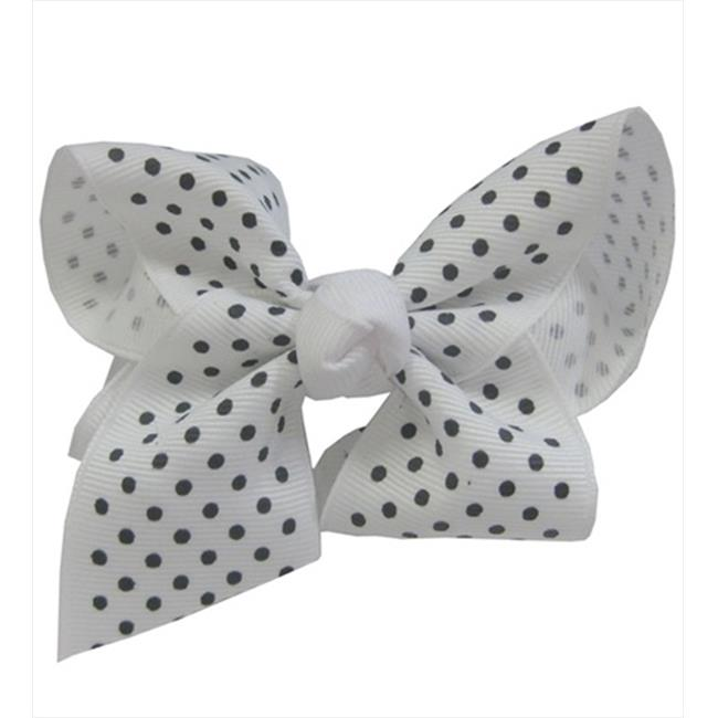 CoverYourHair 60274 Small Black Polka Dot on White Bow Barrette