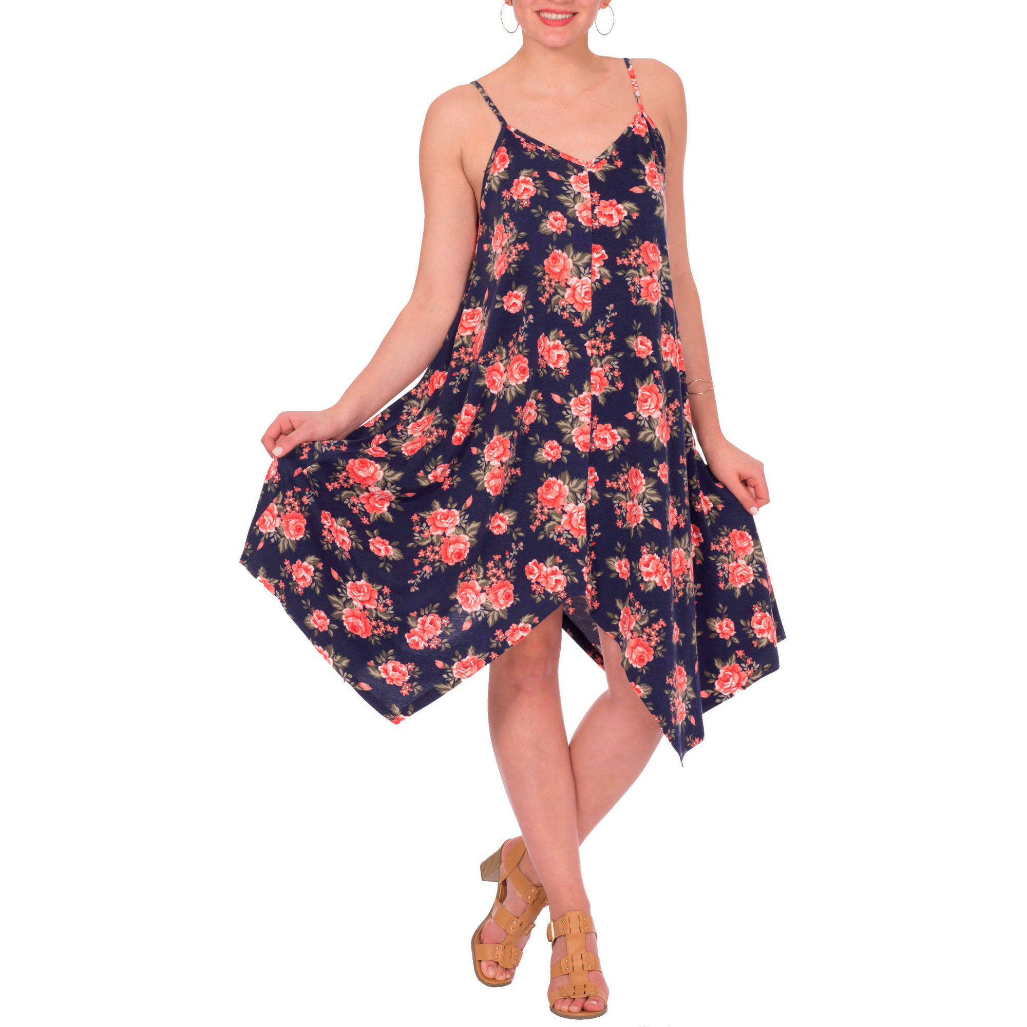 Plus Moda Women's  Floral Handkerchief Hem A-line Dress