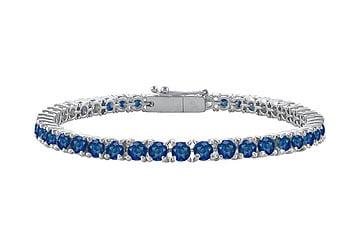 Sapphire Tennis Bracelet 14K White Gold 7.00 CT TGW by Love Bright