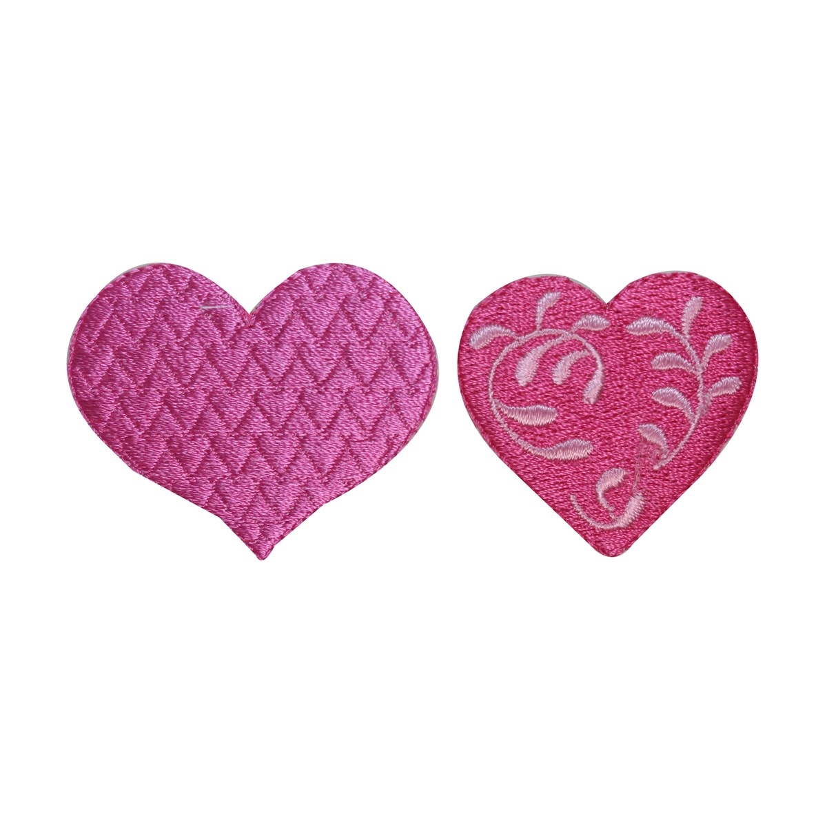 ID 3267AB Set of 2 Love Heart Patches Valentine Day Embroidered Iron On Applique