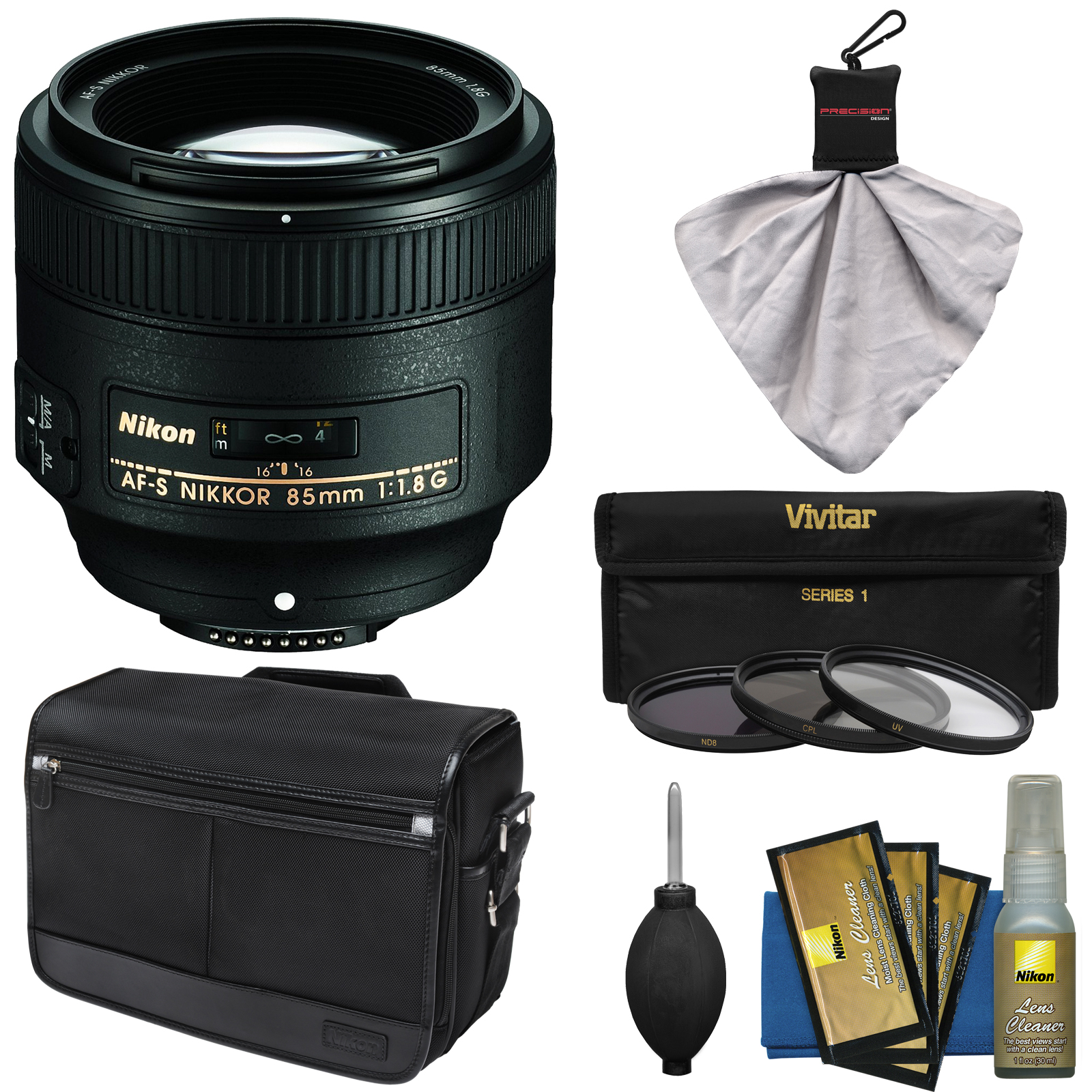Nikon 85mm f/1.8G AF-S Nikkor Lens with Shoulder Bag + 3 UV/CPL/ND8 Filters + Kit for D3200, D3300, D5200, D5300, D7000, D7100, D610, D800, D810, D4s DSLR Cameras