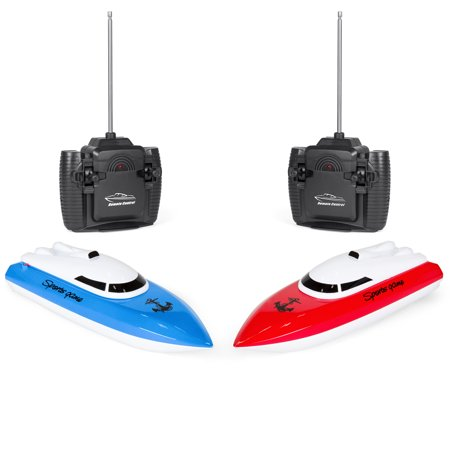 Gas Powered Rc Boats (Best Choice Products Set of 2 Kids 24MHz RC Racing Boats Toys w/ Remote Controls, Rechargeable 3.6V Batteries - Blue/Red )