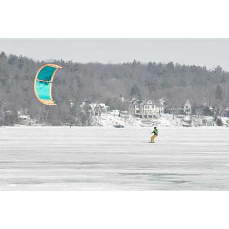 LAMINATED POSTER Sky Wind Surfing Winter Kite Lake Air Kiteboard Poster Print 24 x