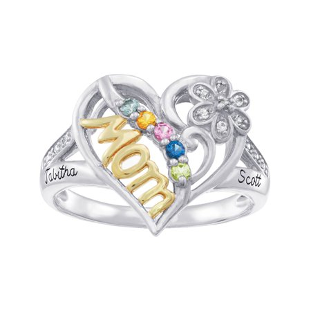 Personalized Family Jewelry Pride Birthstone Mother's Ring available in Sterling Silver, Gold-Plated, Gold and White Gold