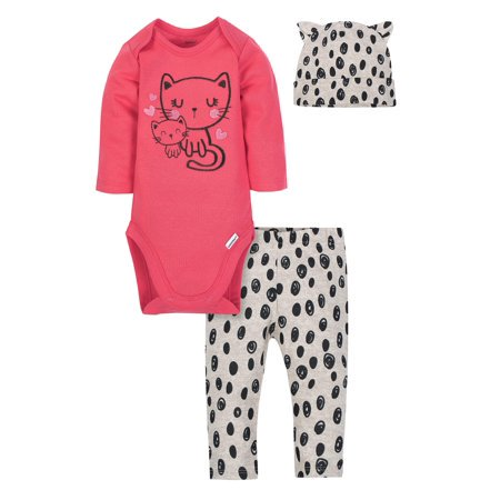 Gerber Baby Girl Onesies Bodysuit, Pants and Cap, 3pc Set (Toddler Girl Spring Clothes)