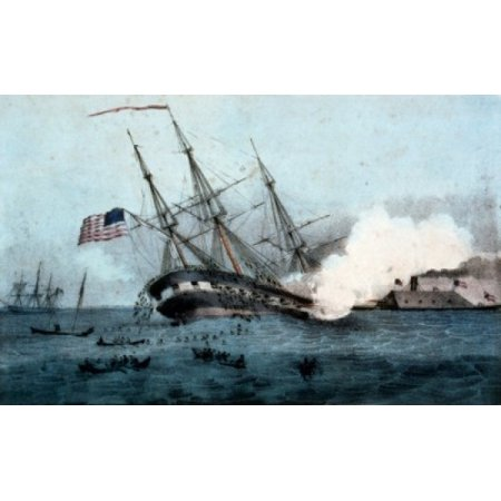 24' Vessel Stand - American battleship and ironclad vessel in seabattle Stretched Canvas -  (18 x 24)