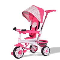 4-in-1 Detachable Baby Stroller Tricycle w/ Round Canopy + Basket - Pink