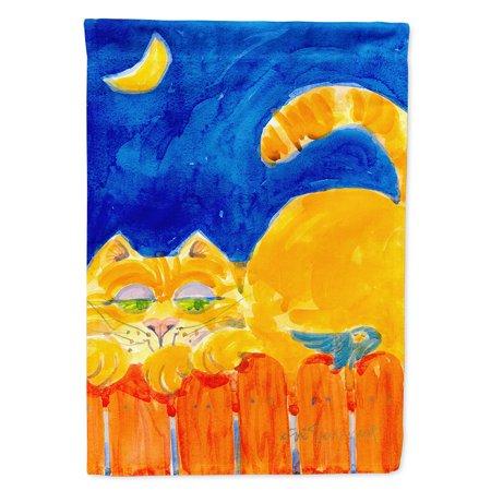 Orange Tabby Cat on the fence Garden Flag ()