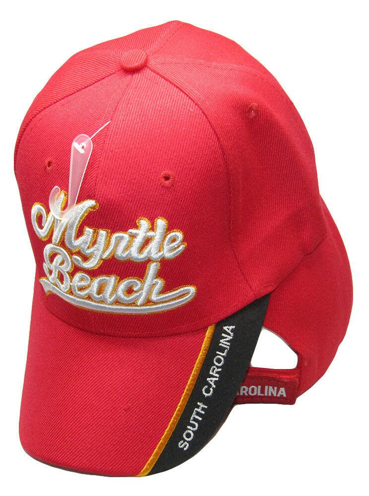 TOPW Myrtle Beach Script South Carolina SC Black Embroidered Cap Hat CAP722