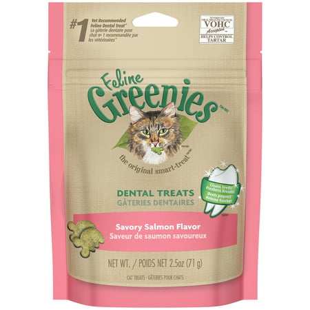 FELINE GREENIES Dental Natural Cat Treats Savory Salmon Flavor, 2.5 oz. Pouch