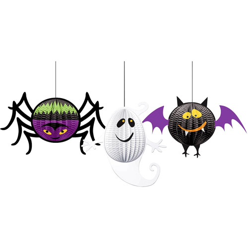 Amscan Family Friendly Halloween Gruesome Group 3‑D Honeycomb Hanging Decoration, Multicolor, 18 x 12