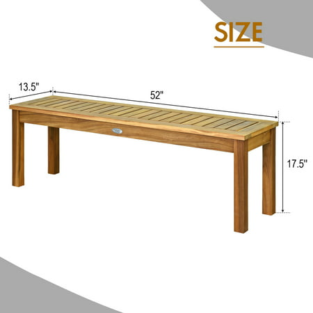 Gymax Acacia Wood Bench Dining Bench Patio Garden W Slatted Seat Teak Walmart Canada