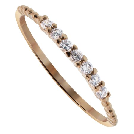 Gem Avenue Copper Over 925 Sterling Silver Clear Cubic Zirconia Ring