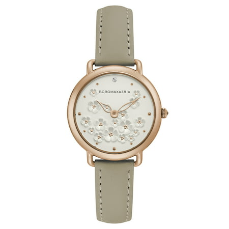 BCBG Maxazria Women's Rose Gold Case Silver Dial Beige Strap Watch