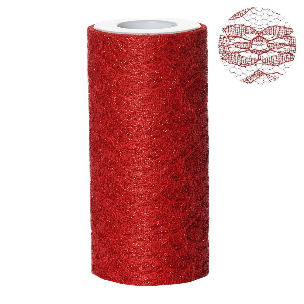 "Floral Shimmer Lace Glitter Tulle Fabric Roll For Wedding Party Decorations - Red- 6""X10 YARDS"