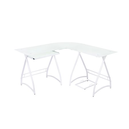 Naomi Home 3 Piece Allison Glass Office Desk-Color:White 3 Piece Glass Desk