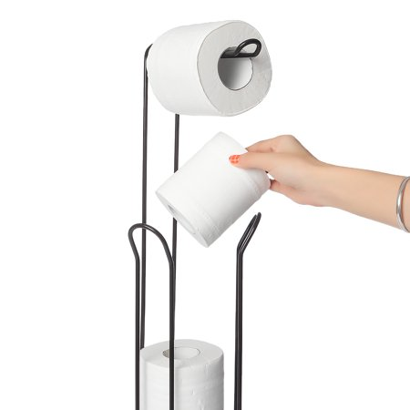 Toilet Paper Holder Stand with Reserve Toilet Paper Storage & Toilet Paper Dispenser. Free Standing Toilet Paper Holder, Bathroom Toilet Roll Holder for Toilet Tissue Chrome Finish - image 7 de 9
