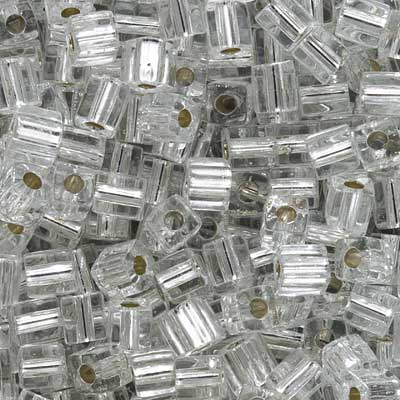 Miyuki 4mm Glass Cube Beads Silver Lined Crystal #1 10 Grams