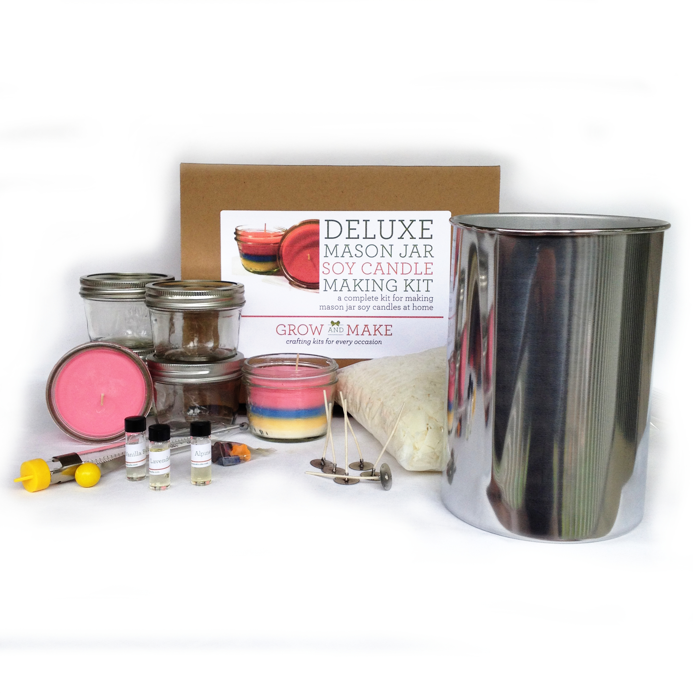 Deluxe DIY Large Mason Jar Soy Wax Candle Making Kit by