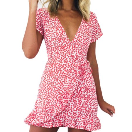 Ruffle Neck Wrap - Women's Floral Plunge V Neck Ruffle Wrap Dress Summer Beach Party Mini Sundress