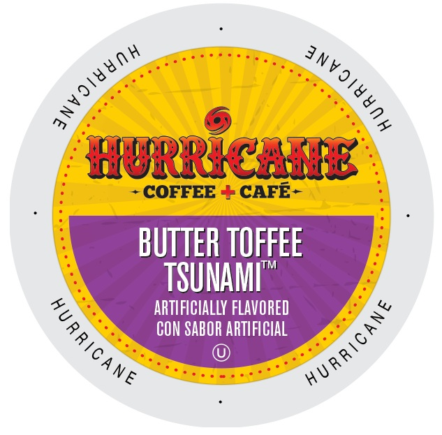 Hurricane Coffee And Tea Butter Toffee Tsunami,Rainforest Alliance, Single Serve Cup Portion Pack for Keurig K-Cup Brewers, 96 Count