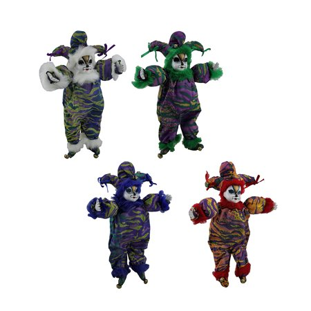 Jester Cat (Set of 4 Colorful Tiger Clown Jester Cat Ceramic Dolls Faux Fur)