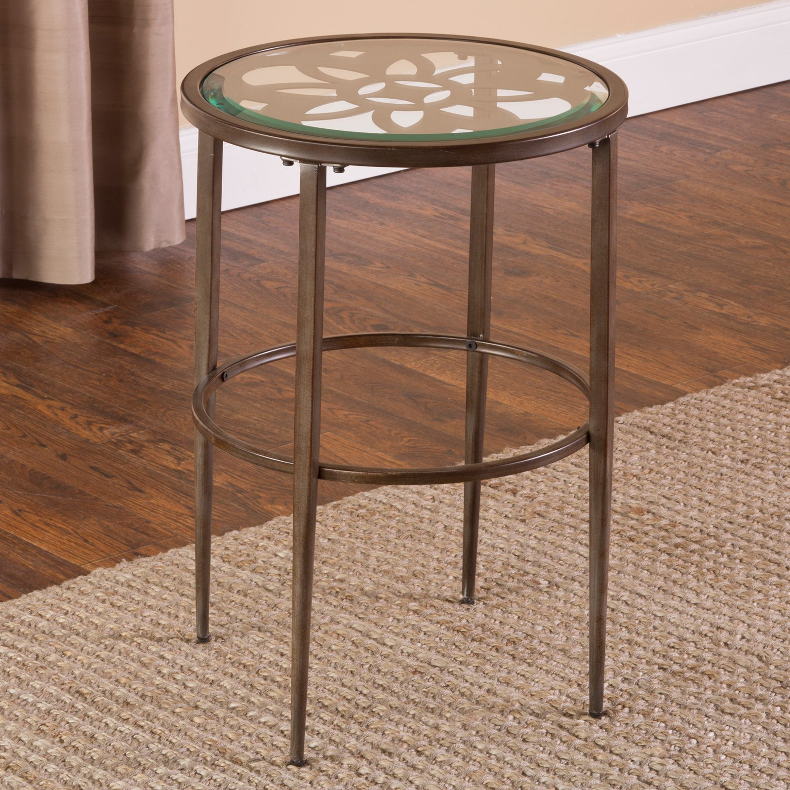 Hillsdale Furniture Marsala Metal and Glass End Table, Brown