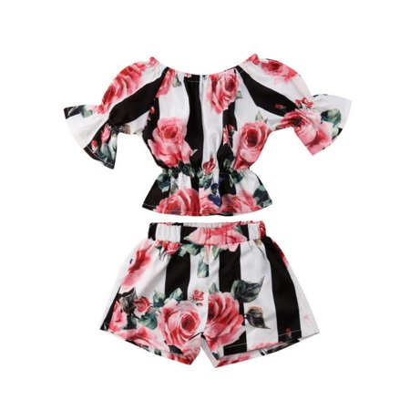 Flare Set - Infant Baby Girl Floral Flare Sleeve Shirt Crop Top And Shorts Summer 2Pcs Set