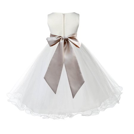 Ekidsbridal Wedding Pageant Ivory Flower Girl Dress Tulle Rattail Edge Toddler Junior Bridesmaid Recital Easter Holiday First Communion Birthday Girls Clothing Baptism Graduation Champagne 829S 2
