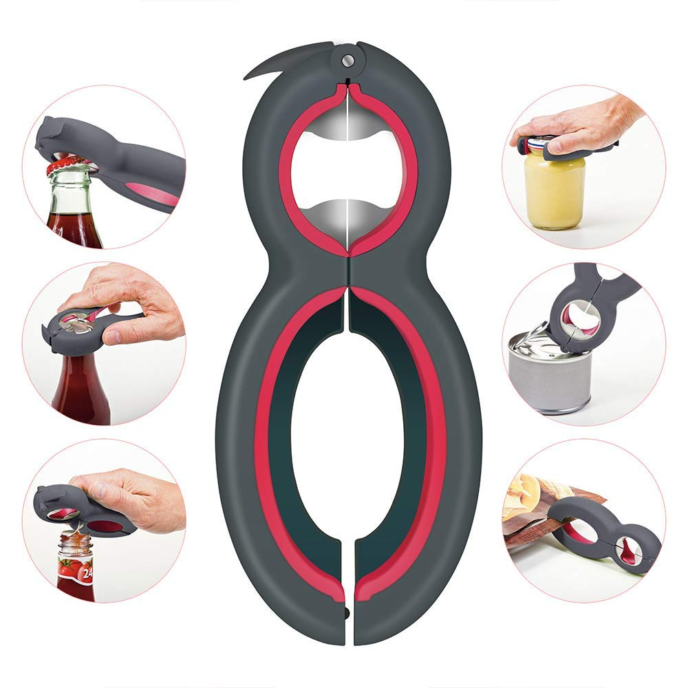 Black Bottle Opener Ideal for Seniors Arthritis Suffers and Weak Hands Premium All-in-one Jar and Bottle Opener Bottle Can and Jar Grip Opener 2 Packs 6-in-1 Multi Opener Jar Opener
