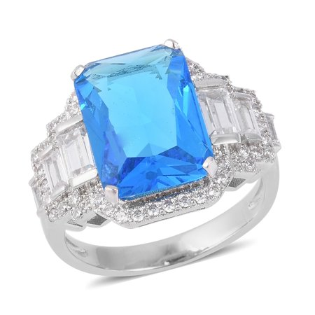 - Silvertone Blue Glass White Cubic Zirconia CZ Statement Ring for Women Cttw 5.7 Jewelry Gift
