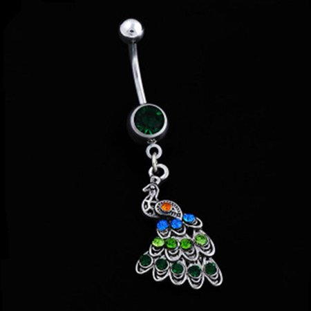 Qiilu Women Special Peacock Shape Navel Button Alloy Body Jewelry, Alloy Navel Button,Navel Button - image 5 of 6