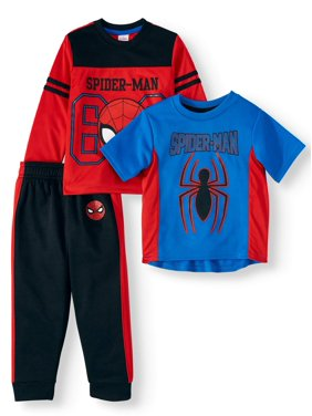 Spiderman Short Sleeve Graphic T-shirt, Colorblock Long Sleeve T-shirt & Taped Jogger, 3pc Active Set (Toddler Boys)