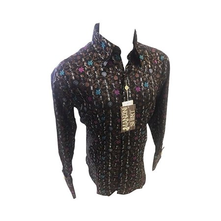 9d9fe5569a8 Manzini - Men s Manzini Designer Woven Button Up Dress Shirt Brown Floral  Paisley Design French Cuff MZT-17029 - Walmart.com