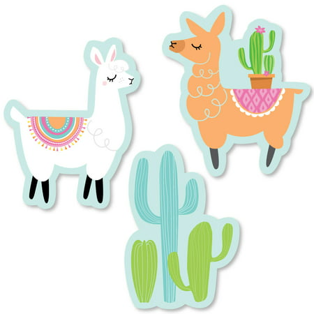 Whole Llama Fun - DIY Shaped Llama Fiesta Baby Shower or Birthday Party Cut-Outs - 24 - Llama Birthday