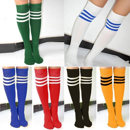 Fashion Socks Women Men Unisex Athletic Stripe Sports Football Running Knee High Tube Socks (White Knee High Socks With Red Bows)