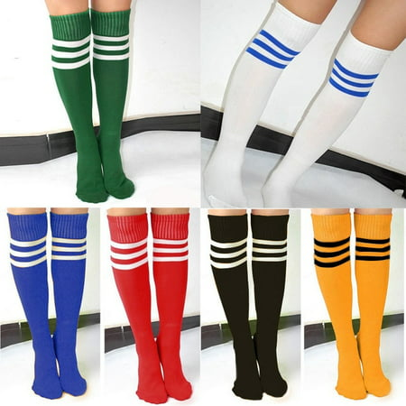 Fashion Socks Women Men Unisex Athletic Stripe Sports Football Running Knee High Tube Socks ()