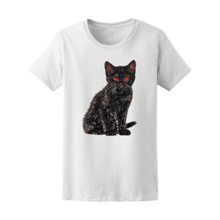 Little Black Cat With Red Eyes Tee Womens  Image By Shutterstock