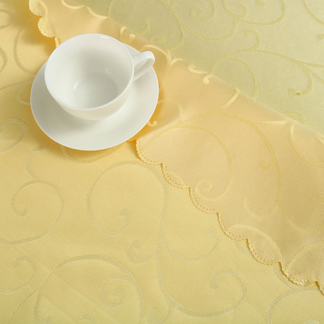 "Polyester Round Flower Pattern Tablecloth Water Stain Resistant Yellow 71"" Dia - image 1 of 4"