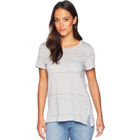 Vince Camuto Womens Short Sleeve Romantic Thin Stripe Pocket Tee (X-Small, Light Heather Grey) Tencel Blend Shirt