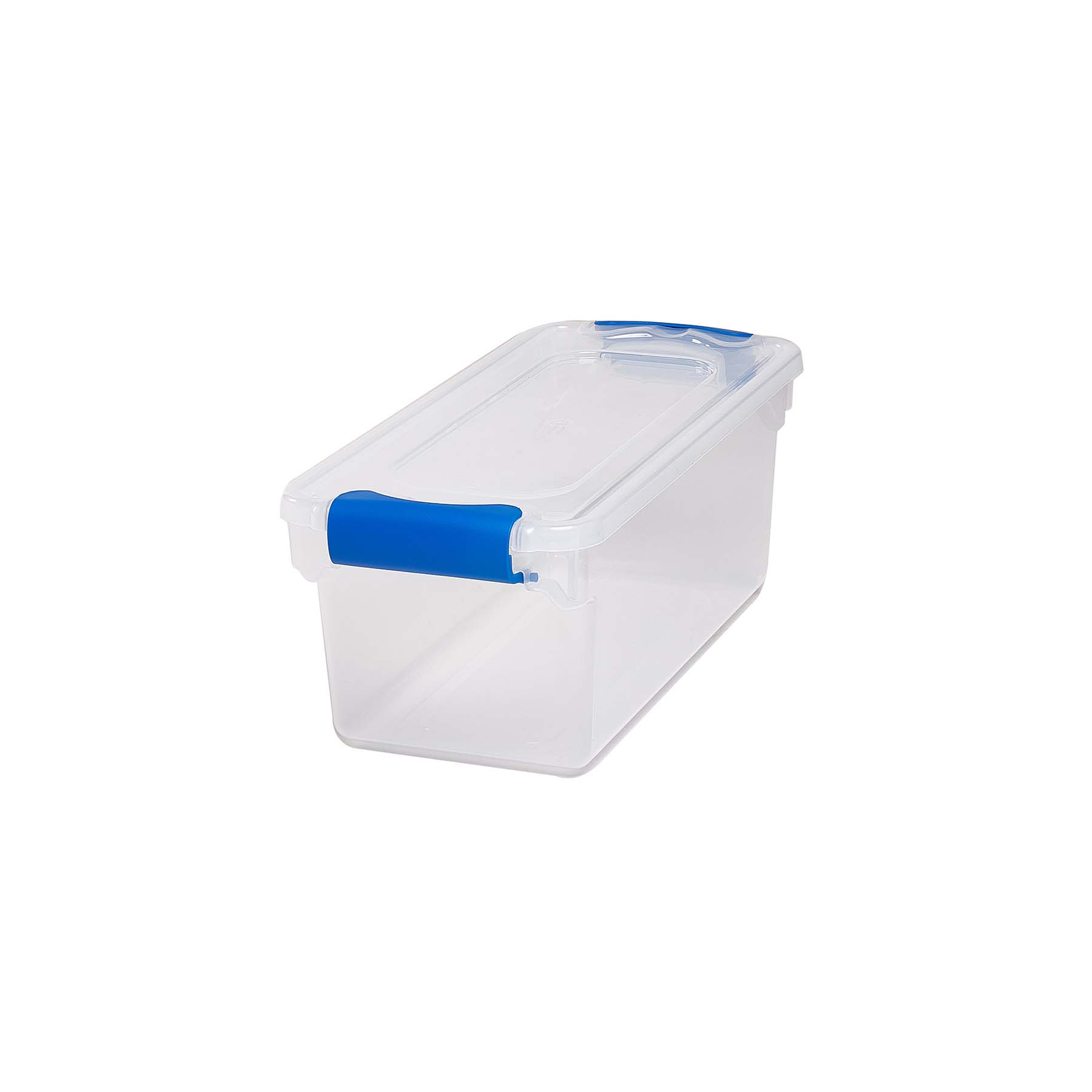 Homz 7.5 Qt. Plastic Latching Shoebox Storage Container with Blue Latches, (Available in Set of 5 or Set of 10)