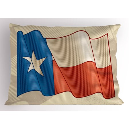Texas Star Pillow Sham Flapping Texan Flag Lone Star