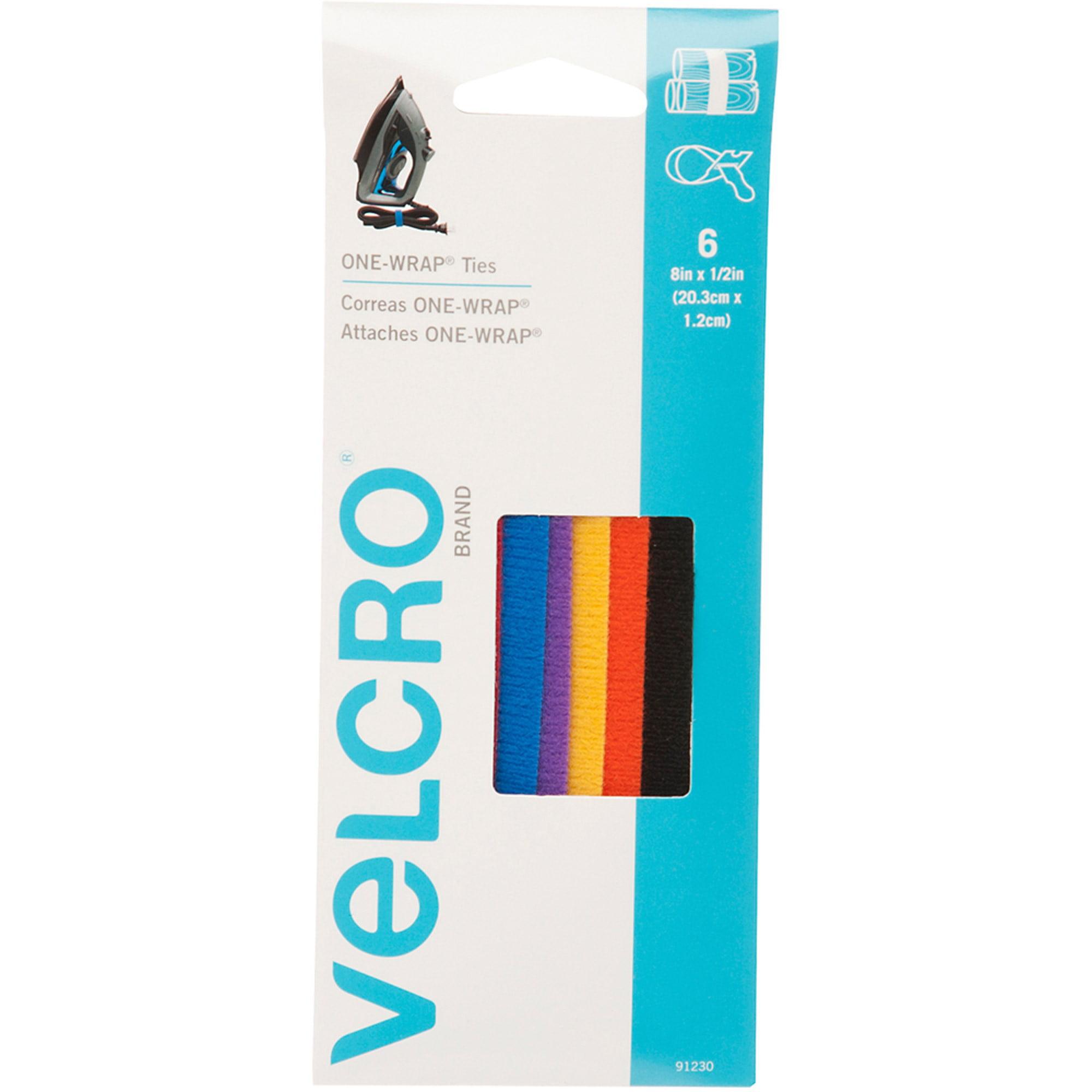 "VELCRO Brand ONE-WRAP 8"" x 1/2"" Multi-Color Tie, 6 Count"