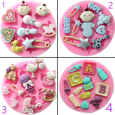 Silicone Fondant Cakes Chocolate Molds Lovely Lollipop Baby Letters and Bear Theme Options Specification:3 bear milk truck (Bear Cake Mold)
