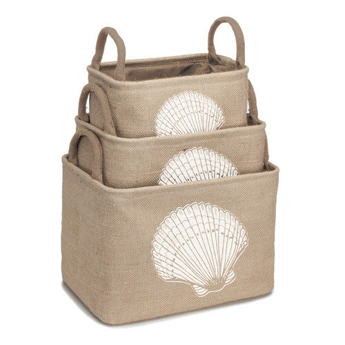 Occasionally Made Coastal Home 3 Piece Burlap Storage Bin Set with Sea Shell Design