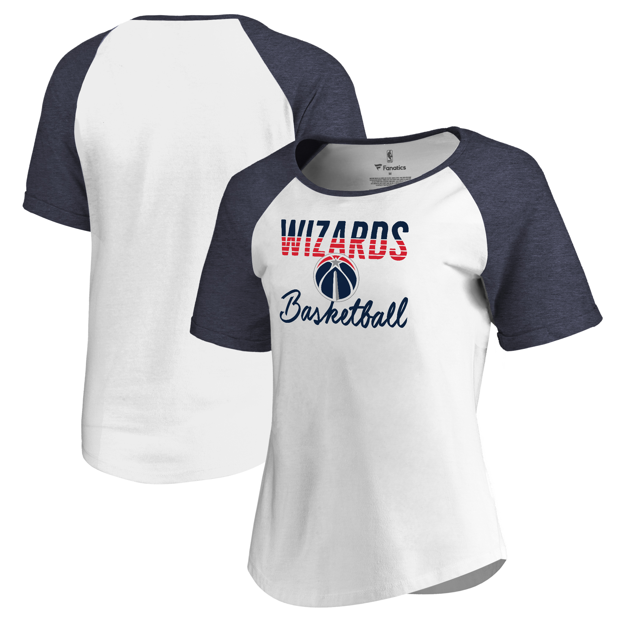 Washington Wizards Fanatics Branded Women's Free Line Raglan Scoop Neck Tri-Blend T-Shirt - White/Navy